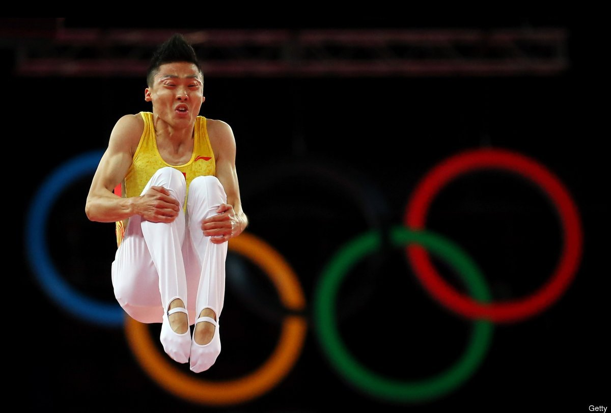 Dong Dong of China competes on the Men's Trampoline during Day 7 of the London 2012 Olympic Games at North Greenwich Arena on
