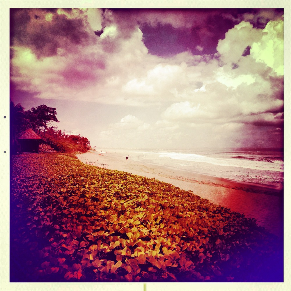 Late afternoon is the best time to relax on the beach at the W Retreat & Spa Bali. The clouds ward off some of the sunlight,