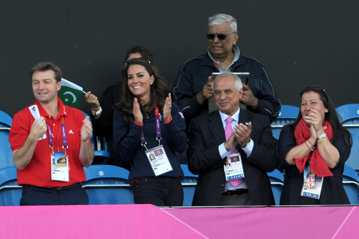 The Duchess of Cambridge attends a hockey event on day 7 of the 2012 London Olympics on August 3rd  (Getty photo)