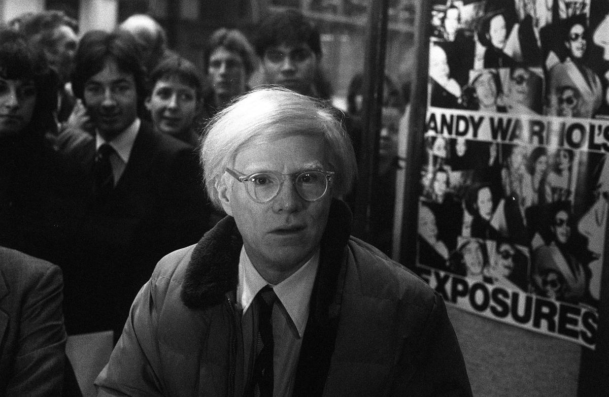 Controversial American artist Andy Warhol, best known for his giant Campbell's soup pictures, at the Arts Council Shop in Lon