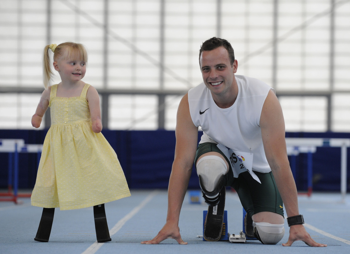 He has been called the fastest man on no legs. But Oscar 'Blade Runner' Pistorius got a run for his money when five-year-old