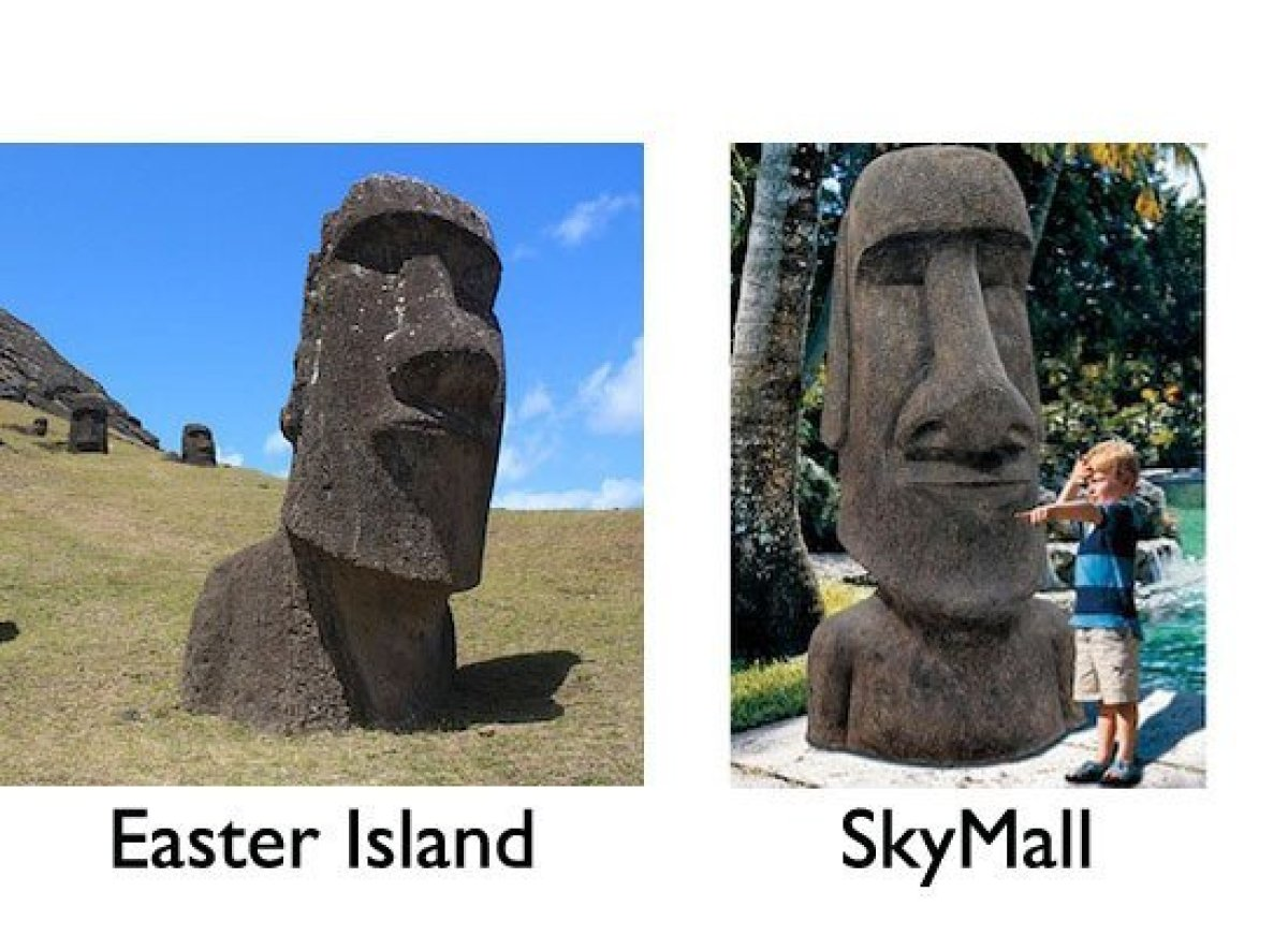 Pictured above, this replica moai comes in two sizes: large and giant (just like Americans) and instantly transports you to m