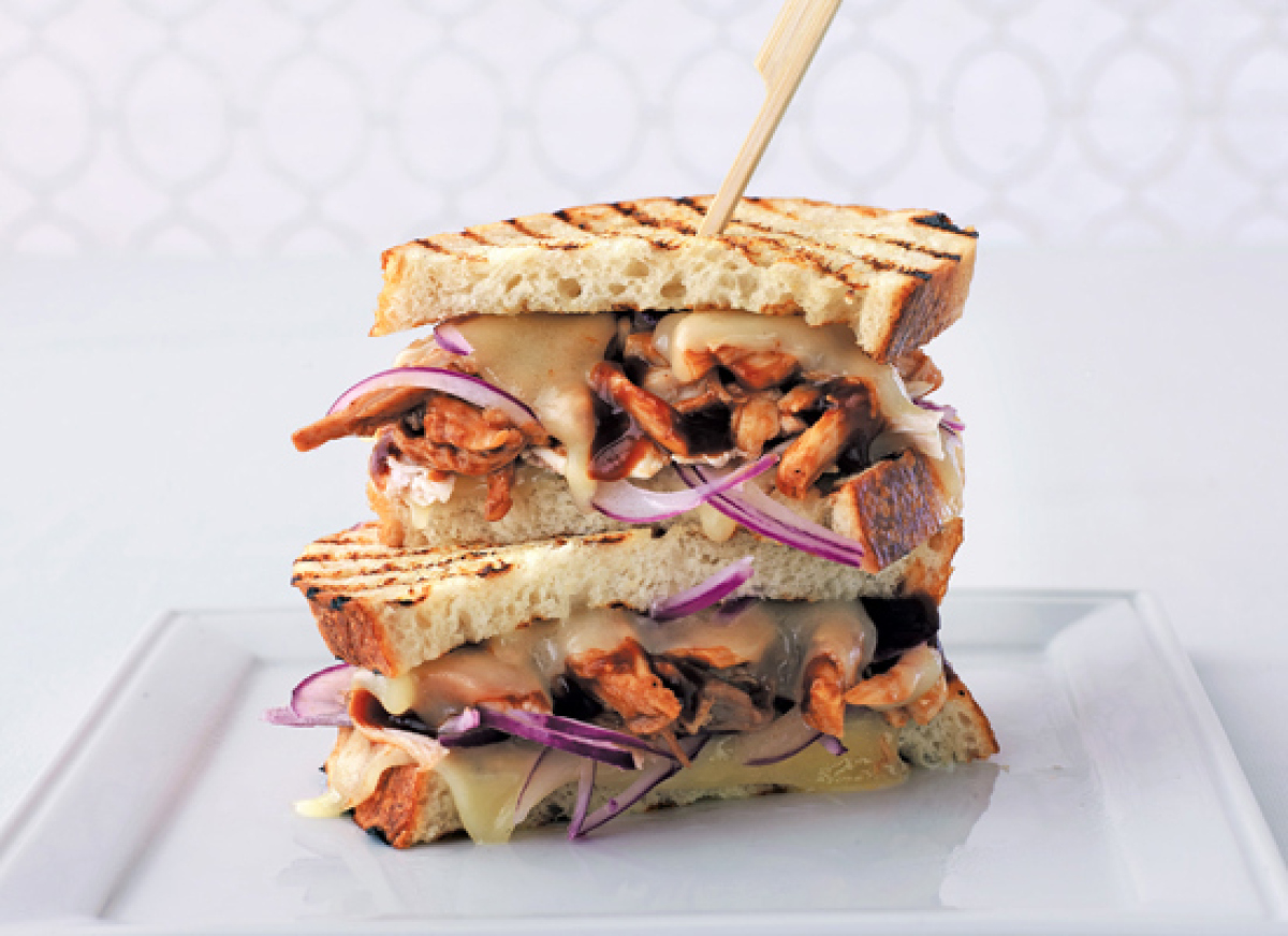 Reinterpret your leftover chicken with this simple and satisfying panini. Shred any leftover chicken and toss with your favor