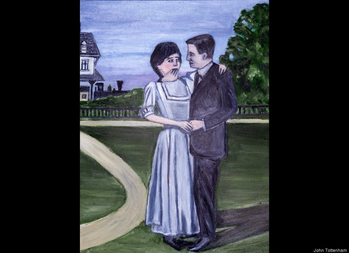 """John Tottenham Two Figures in Dense Violet Light. 2010 Oil on Canvas 12 7/8 x 9 7/8"""" (JT12 11)"""