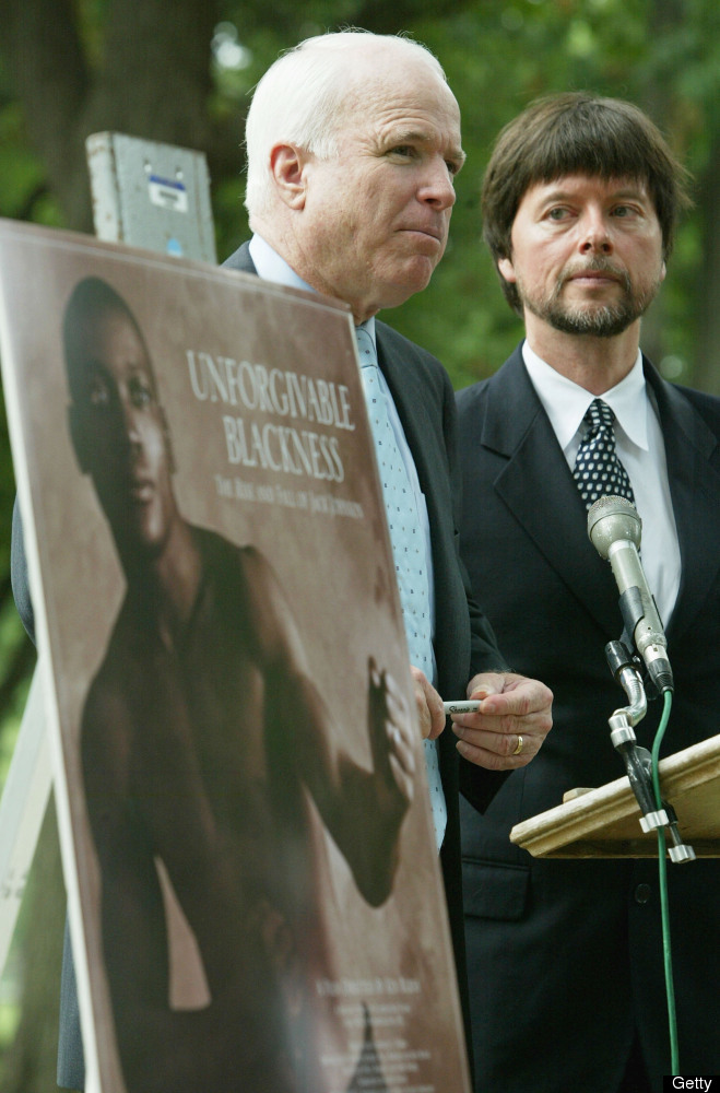 WASHINGTON - JULY 13:  U.S. Senator John McCain (R-AZ) (C) speaks as documentary filmmaker Ken Burns (R) looks on during a me