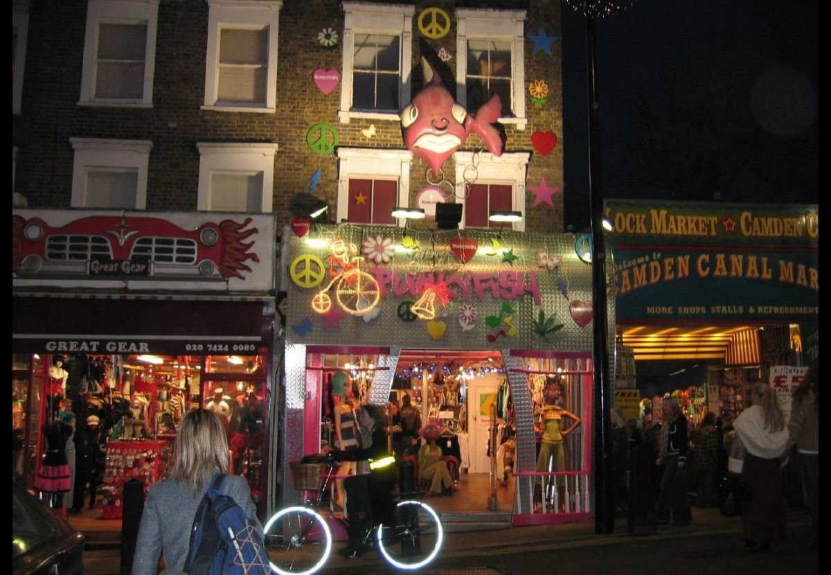The Camden Markets are a cluster of adjoining retail markets in Camden Town, northwest of central London. Fixed stores and po