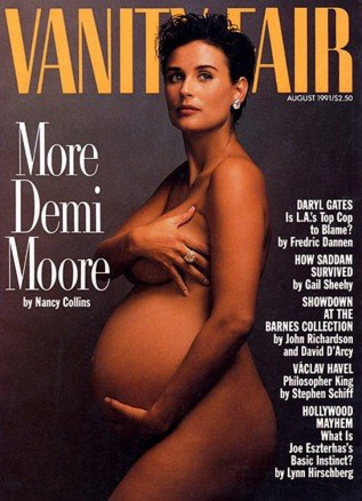 The issue, featuring Moore pregnant and naked on the cover, was banned and covered up by many newsstands.   <em>From <a hre