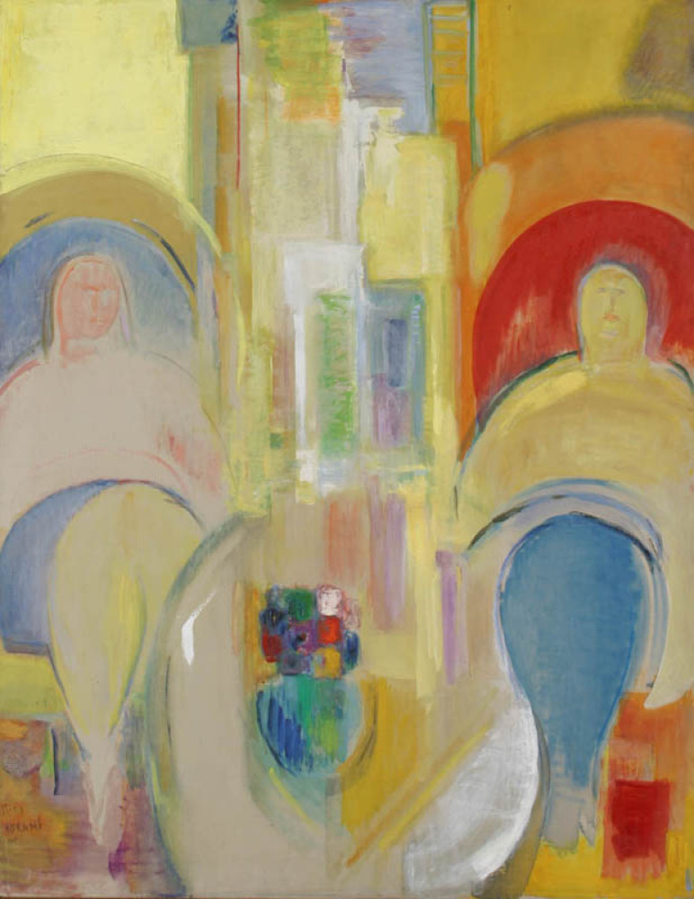 Circles and Rectangles - Two Seated Women, 1968, Oil on canvas, Collection of Yeshiva University Museum, Gift of the Estate o