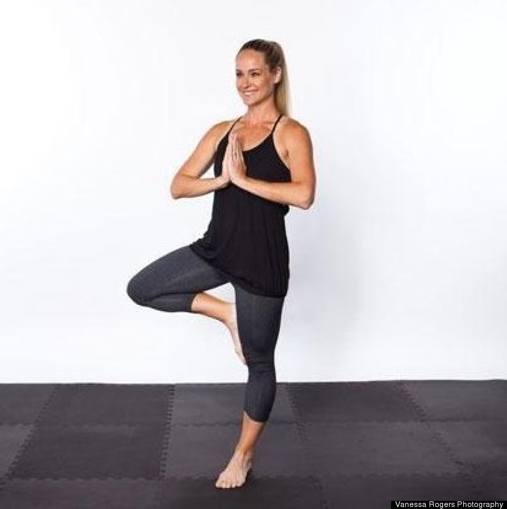 This pose will have your abdominals working overtime to help you stay grounded on one leg.  Shift your weight onto your lef