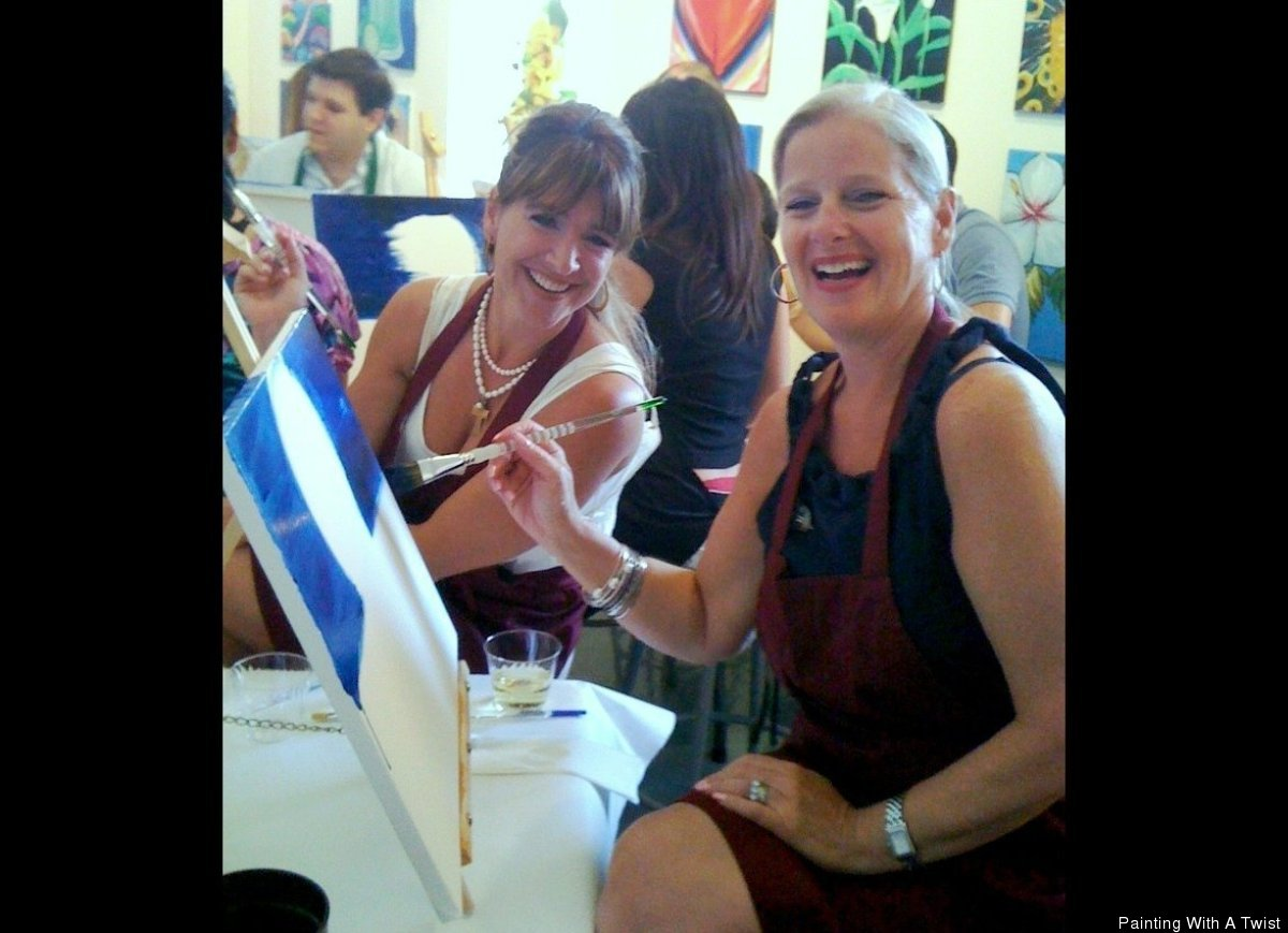 With a little bit of paint, a lot of wine, and the desire to start something all their own, Renee Maloney, left, and Cathy De