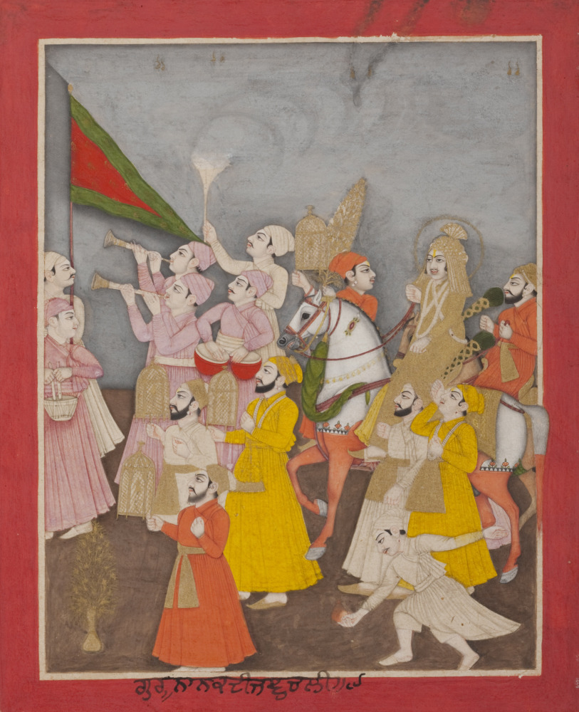 Guru Nanak's wedding procession, from a manuscript of the Janam Sakhi (Life Stories), approx. 1750-1800