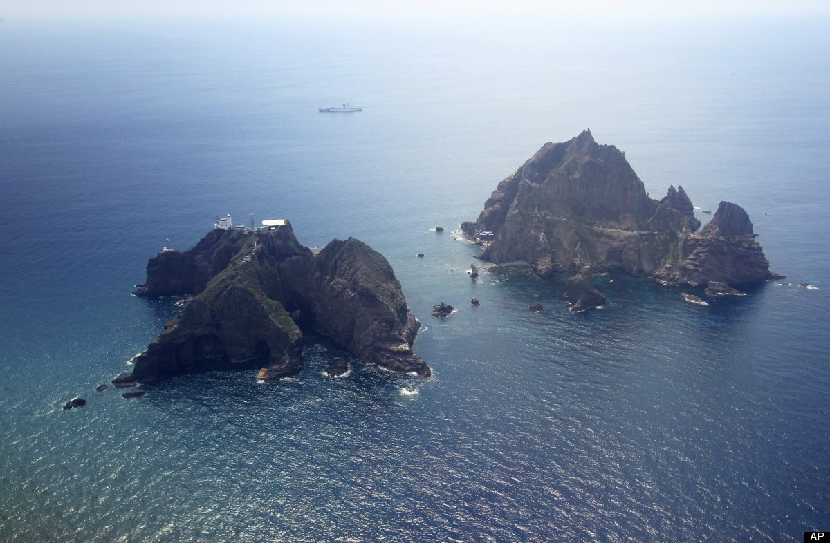 Islands called Dokdo in Korea and Takeshima in Japan are seen Friday, Aug. 10, 2012. South Korean President Lee Myung-bak mad