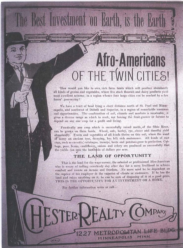 In 1896, real-estate agents distributed fliers to Kentucky African American veterans visiting the fairgrounds in St. Paul; th