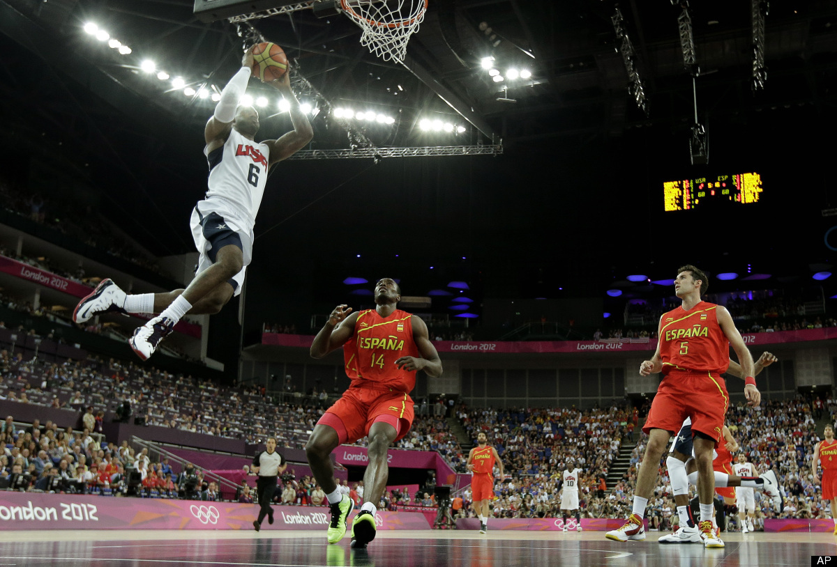 United States' LeBron James goes up for a dunk during a men's gold medal basketball game against Spain at the 2012 Summer Oly