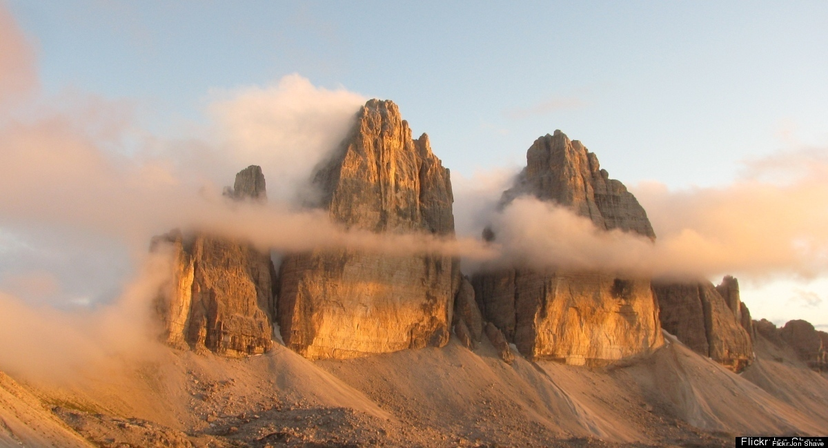 Enrosadira gives the Tre Cime di Lavaredo, in the Dolomites, a warm glow.