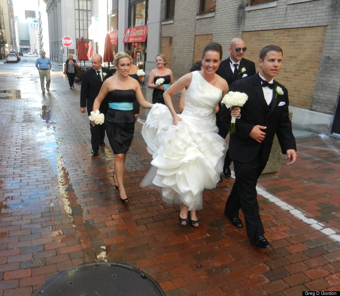 Brittany Coss & David Pace, The Vault, Columbus, Ohio: Outside the venue in rainy weather