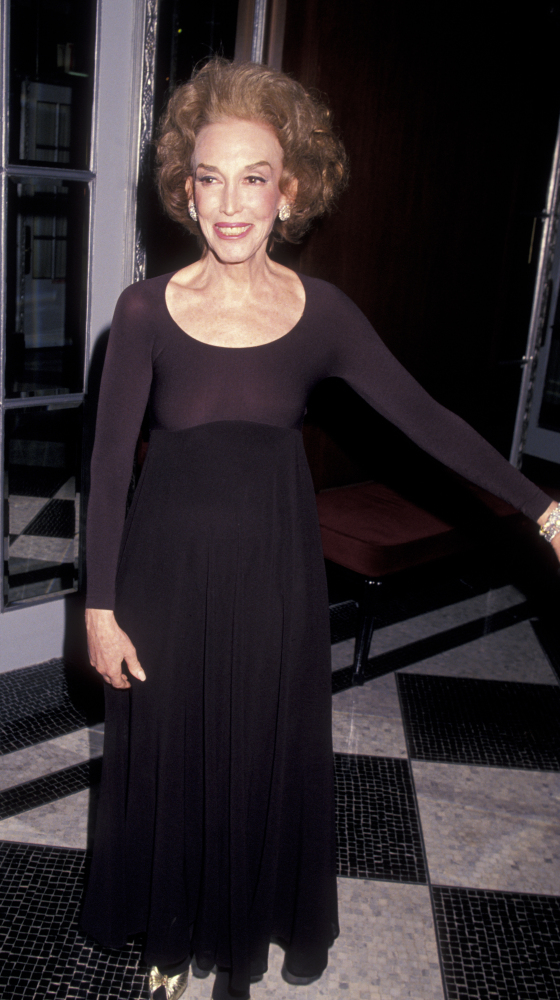 Helen Gurley Brown attends Friar's Club Tribute Gala Honoring Barbara Walters on May 7, 1994 at the Waldorf Astoria Hotel in