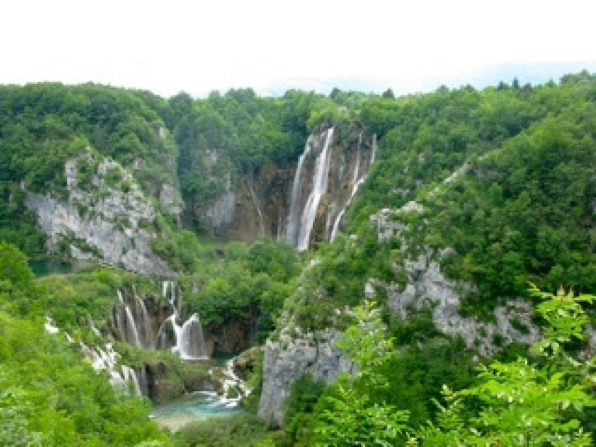Beautiful tiered waterfalls at Plitvice Lakes, the largest national park in Croatia.