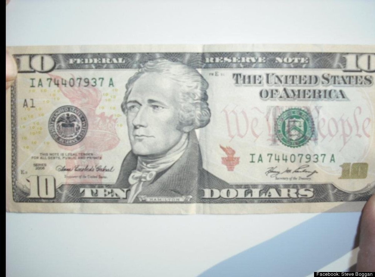 $10 bill with serial number IA74407937A