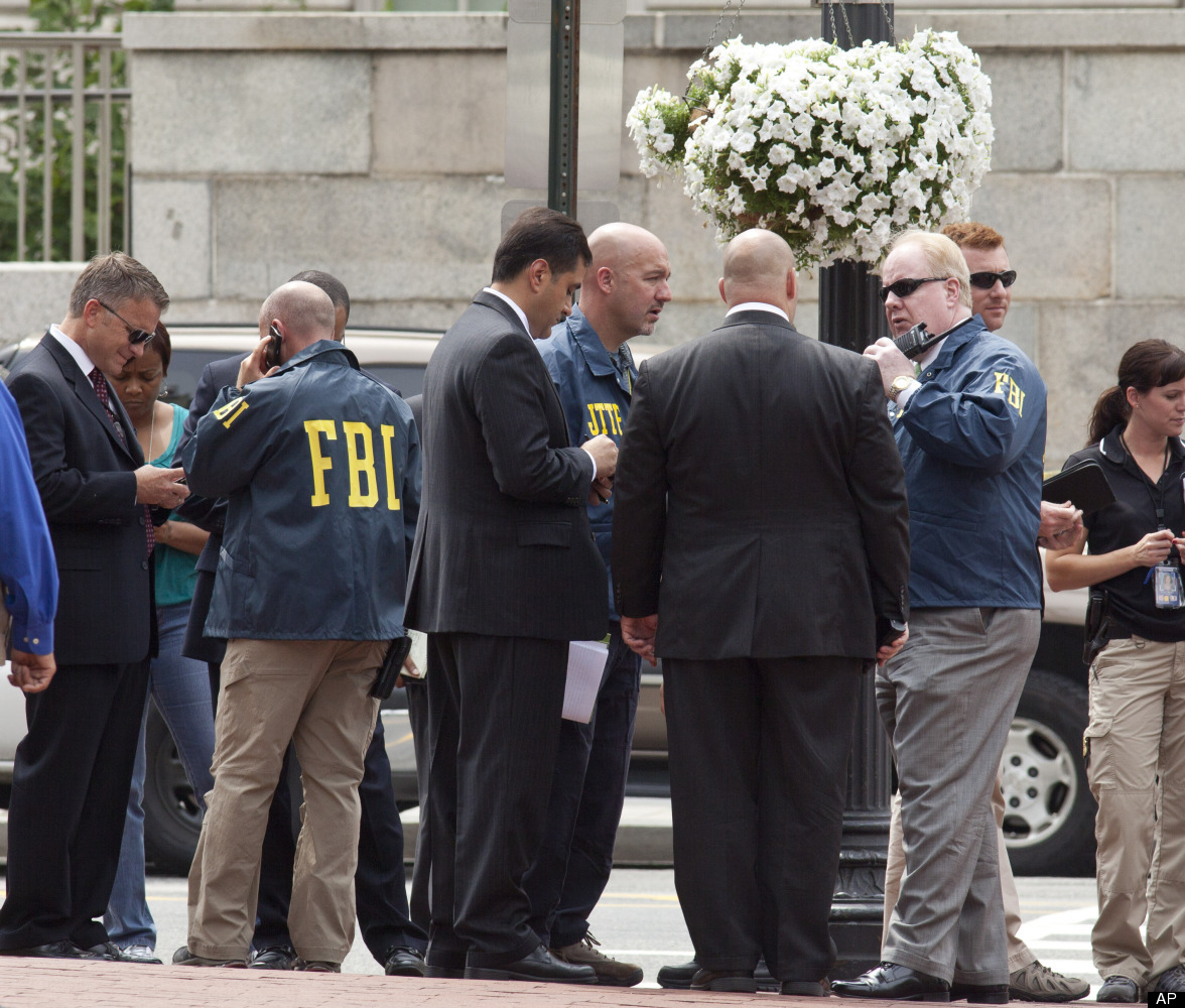 Federal law enforcement authorities respond to a shooting at the office of the Family Research Council in downtown Washington