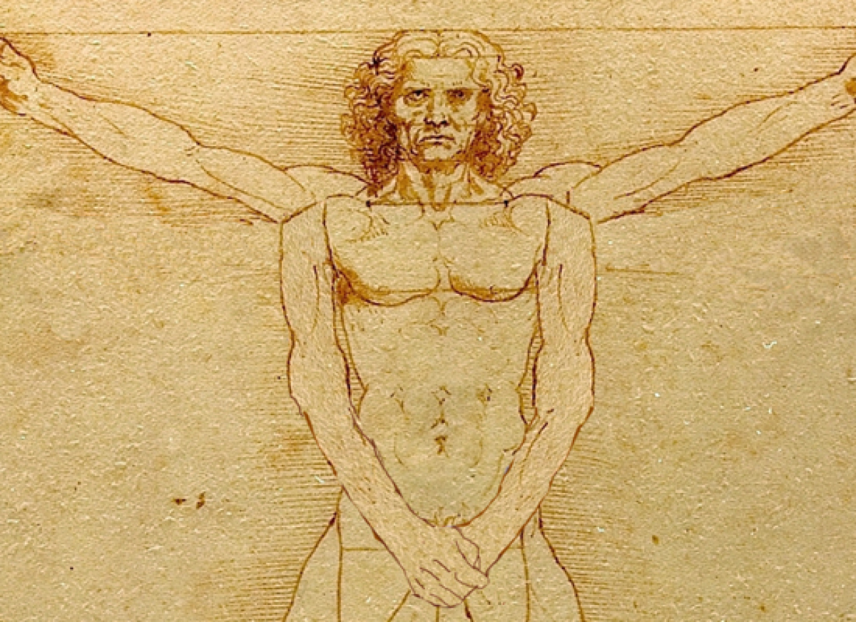 """Da Vinci's """"Vitruvian Man"""" drawing was considered a landmark study in anatomy, until people realized it had too many arms and"""