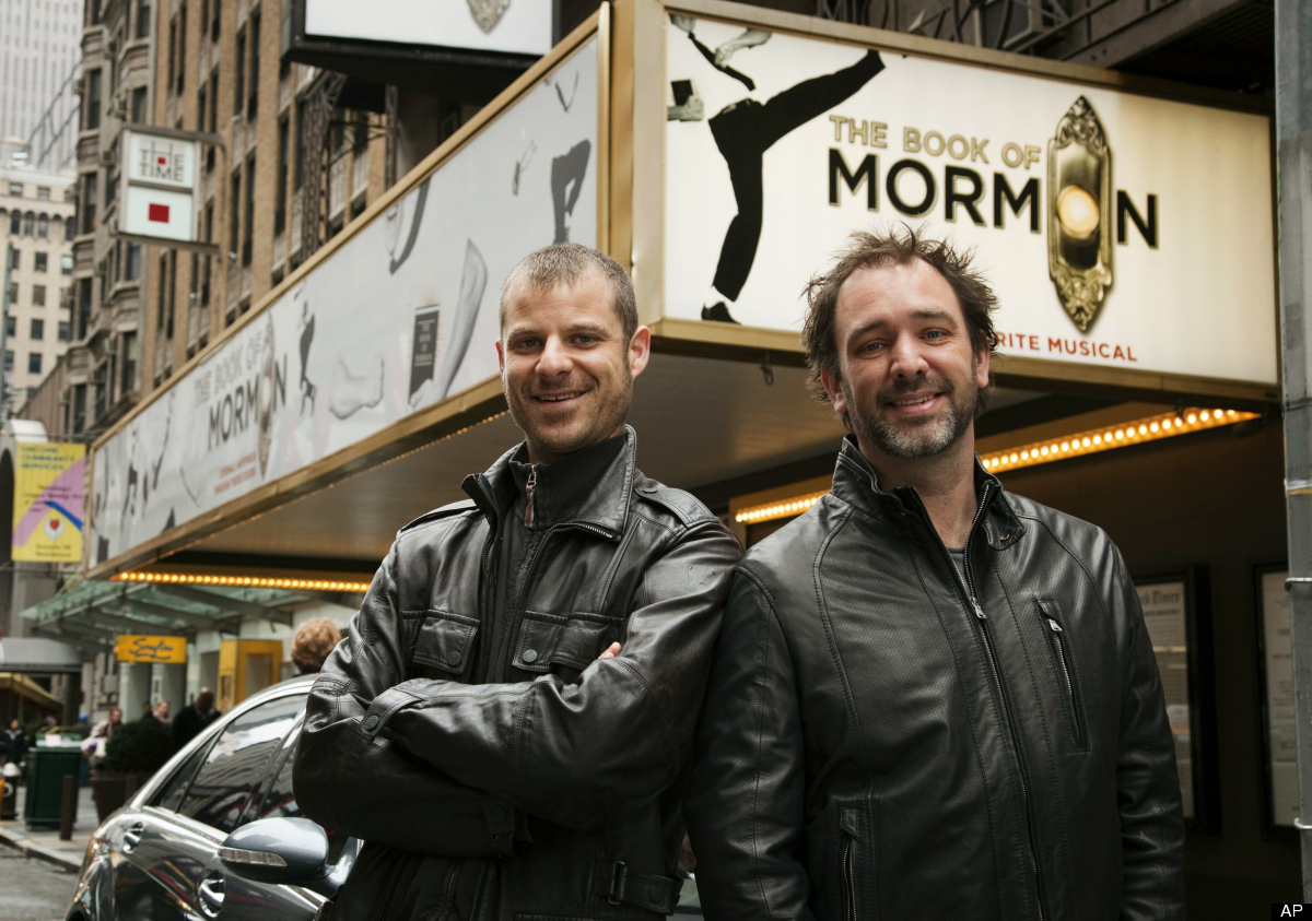 """FILE - In this March 16, 2011 file photo, Trey Parker, right, and Matt Stone, co-creators of the Broadway show """"The Book of M"""