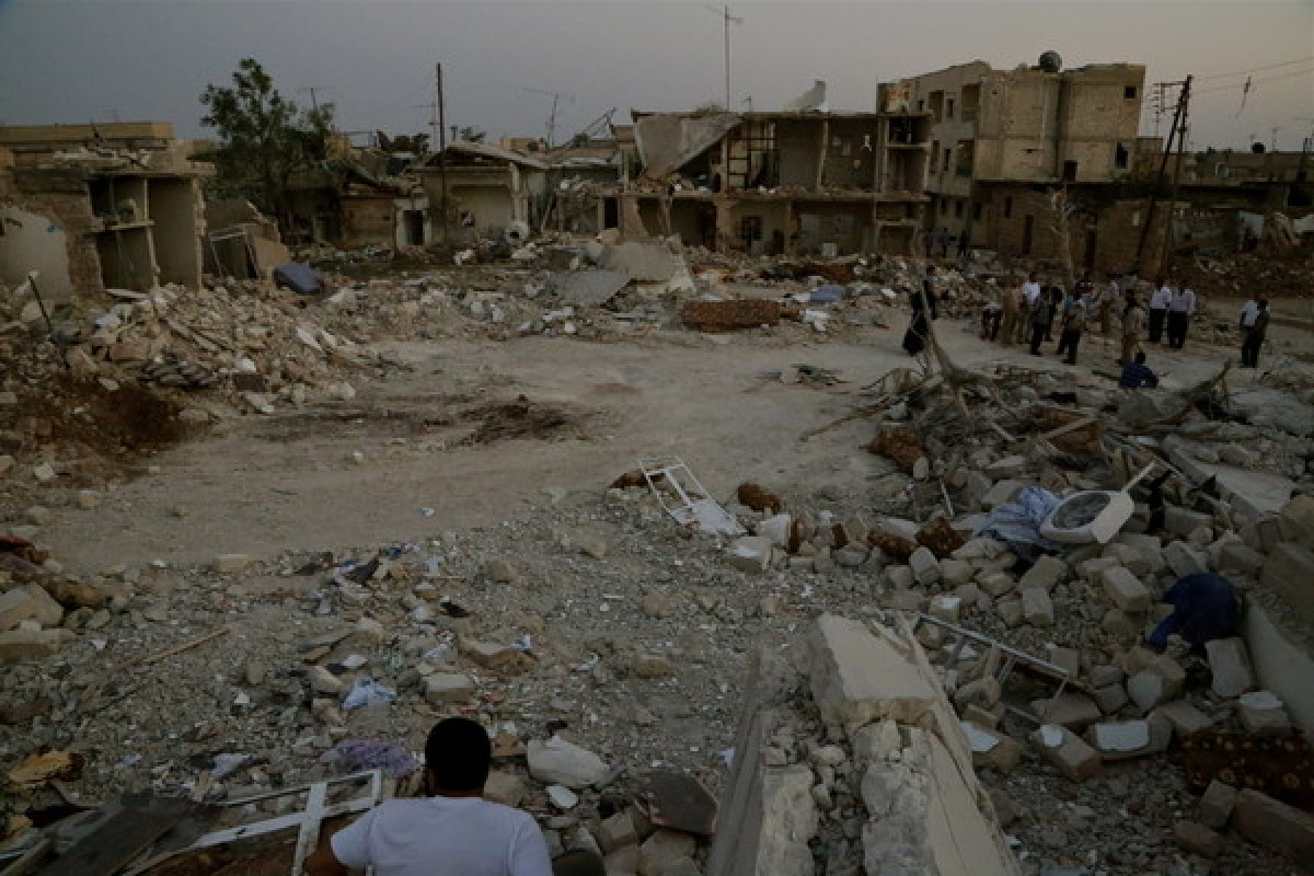 A residential area in Azaz, hit by at least two bombs from a Syrian fighter jet on August 15, 2012.