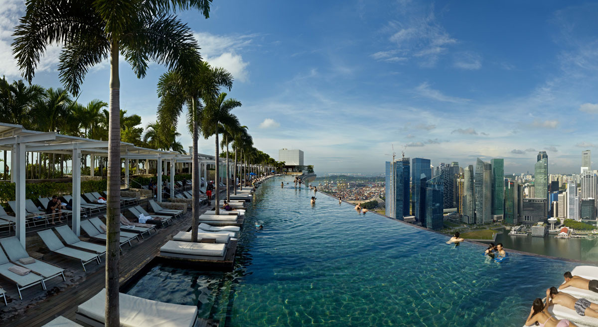 The five-star Marina Bay Sands hotel offers what is perhaps one of the most impressive pools ever built by man. The hotel con