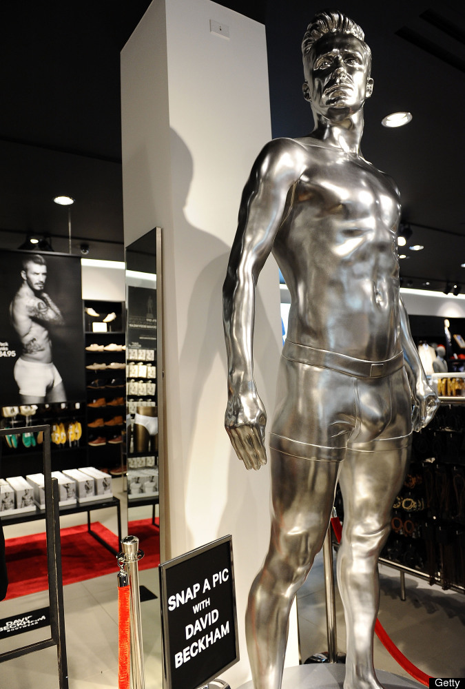 LOS ANGELES, CA - AUGUST 16:  H&M celebrates the new David Beckham ad campaign with a statue stunt at the Beverly Center on A