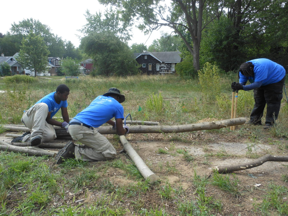 Teenagers with the Detroit Conservation Leadership Corps spent the summer of 2012 clearing trails in Eliza Howell Park and th