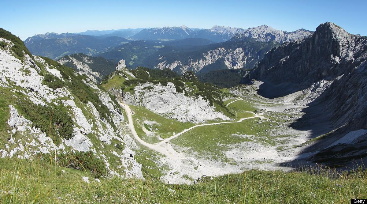 The view of the Wetterstein mountains seen from the base of the Alpspitz peak on August 19, 2012 near Garmisch-Partenkirchen,