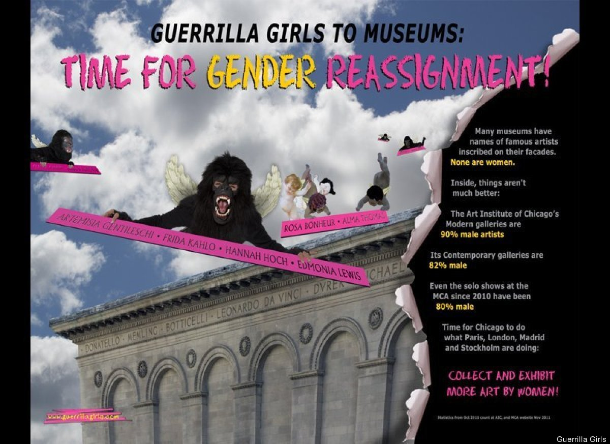 "The <a href=""http://www.guerrillagirls.com"" target=""_hplink"">Guerrilla Girls</a>, a group of feminists who anonymously protes"