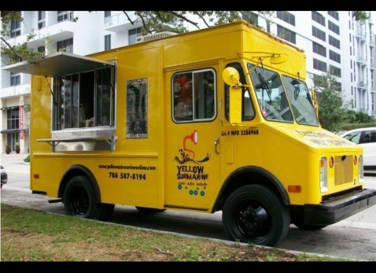 The Yellow Submarine food truck is all about the music. The very yellow truck sells burgers, hot dogs, and sandwiches while p