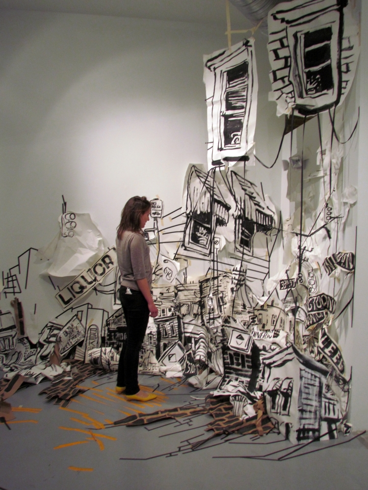 """Amanda Burnham """"Hood"""" Site specific drawing made in response to a poem by Naomi Ayala Black gesso and tape on cut pape"""
