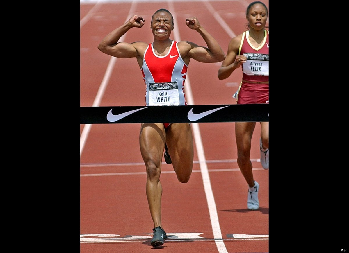 U.S. sprinter Kelli White won two gold medals at the 2003 World Championships in Paris, but she tested positive for the stimu