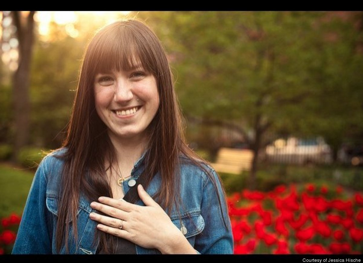 Hische posing with her ring post-proposal