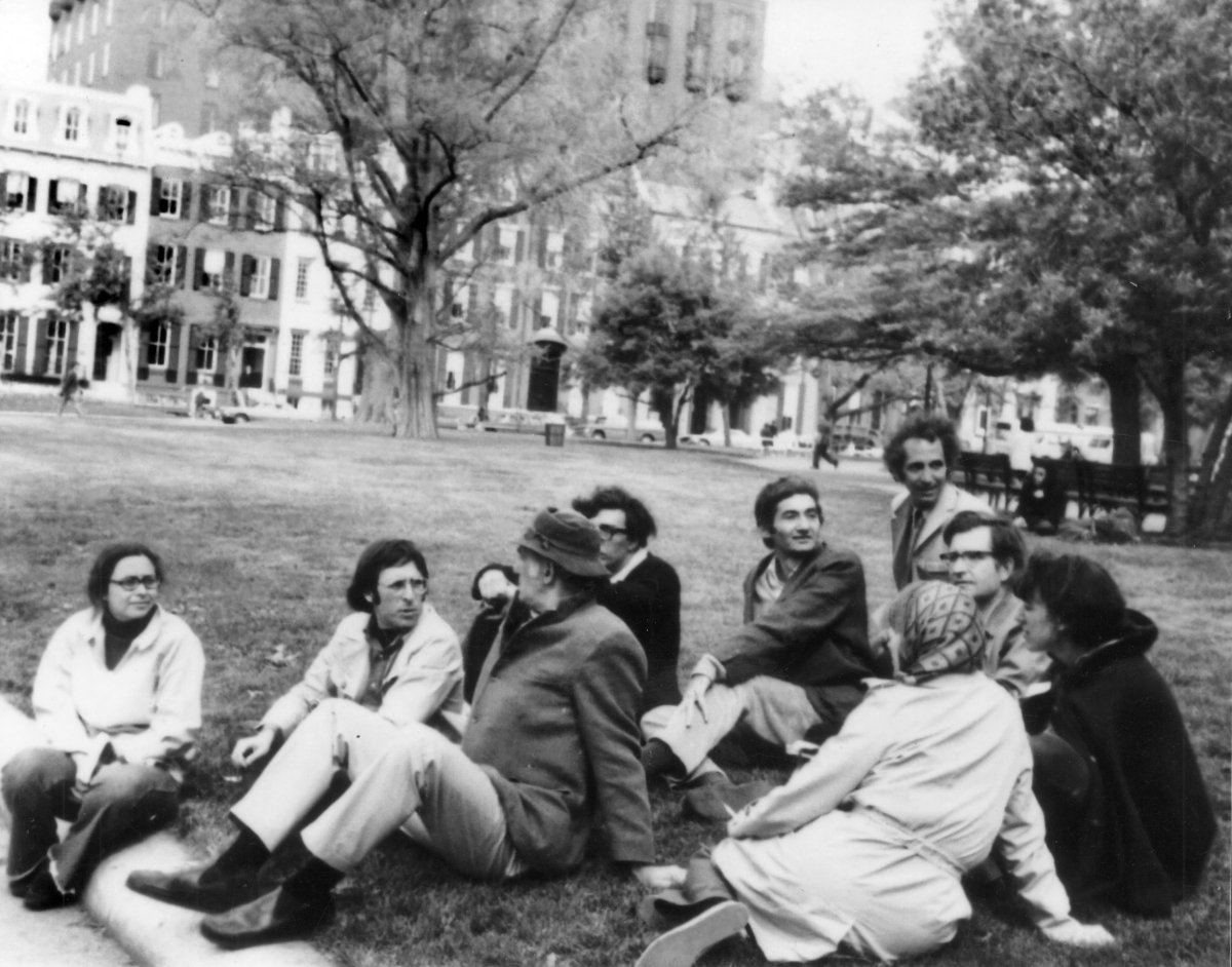 Howard (middle, with left hand on leg) with antiwar group in Washington, D.C., in the spring of 1971. Marilyn B. Young far le