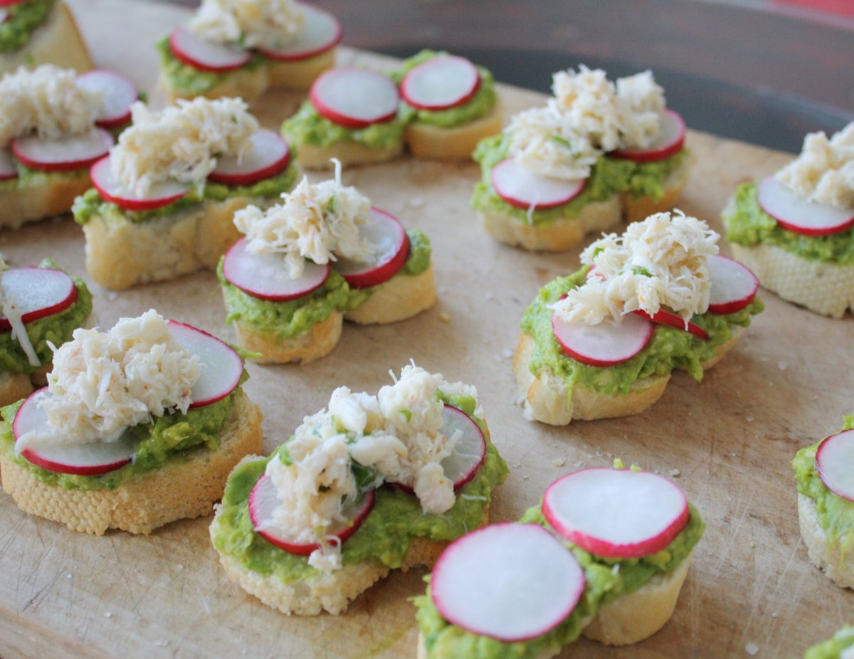 Mashed avocado with a little lemon juice is my favorite topping for a tartine or crostini. Add a couple radishes like in this