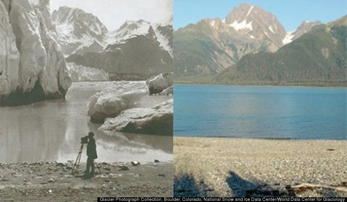 Pictured here is Muir Glacier, Alaska. On the left, 1891. On the right, 2005. Located in the East Arm of Glacier Bay, Muir Gl
