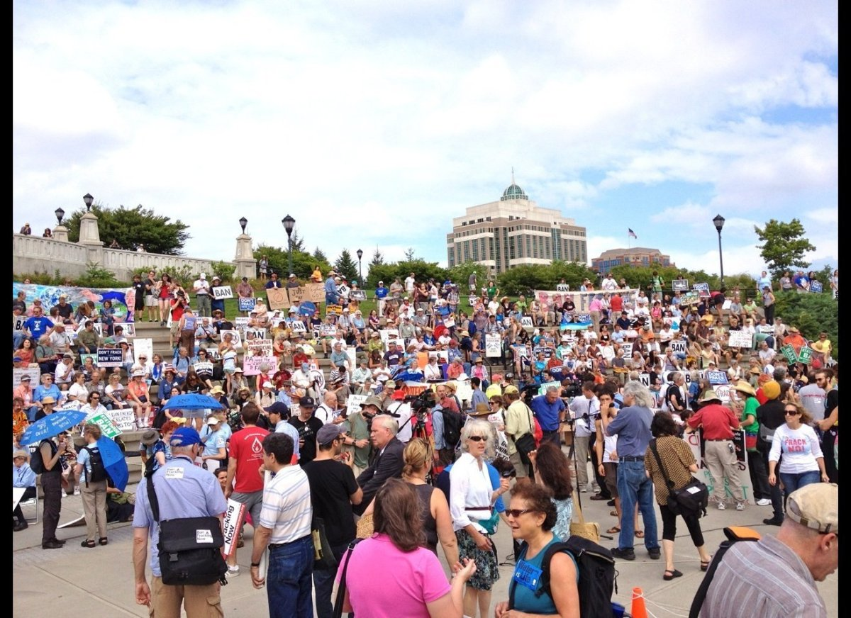 Over 1,000 people joined a massive protest against fracking in Albany, NY this Monday afternoon.