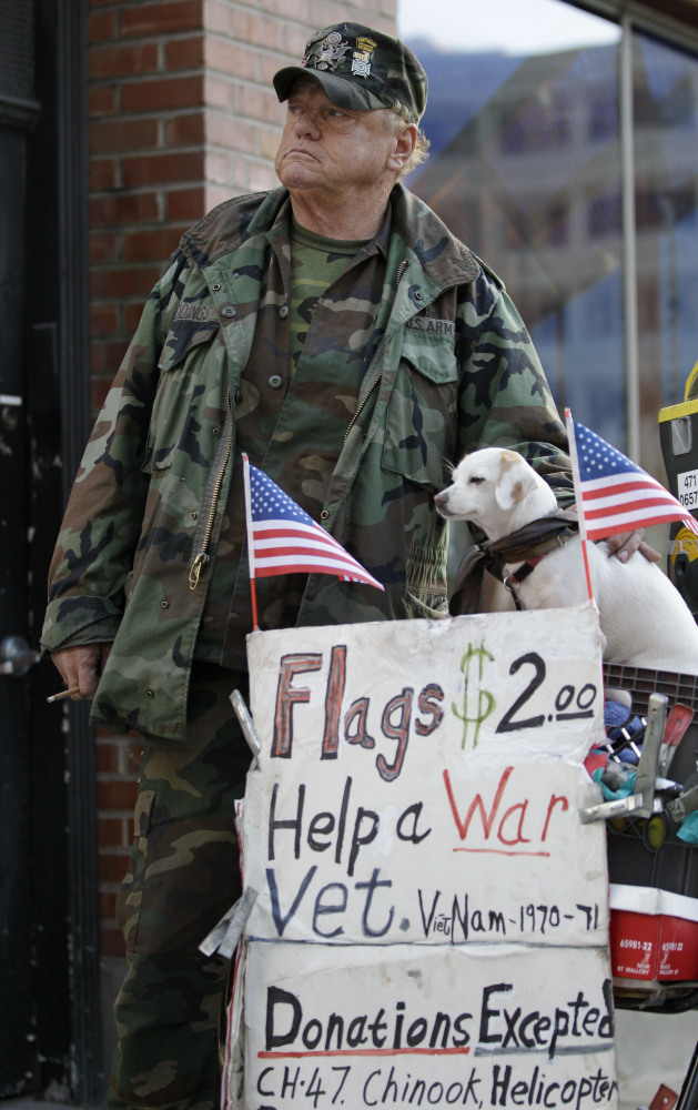 """As of December 2011, veterans of the military accounted for one in seven homeless people, the <a href=""""http://www.americanpro"""