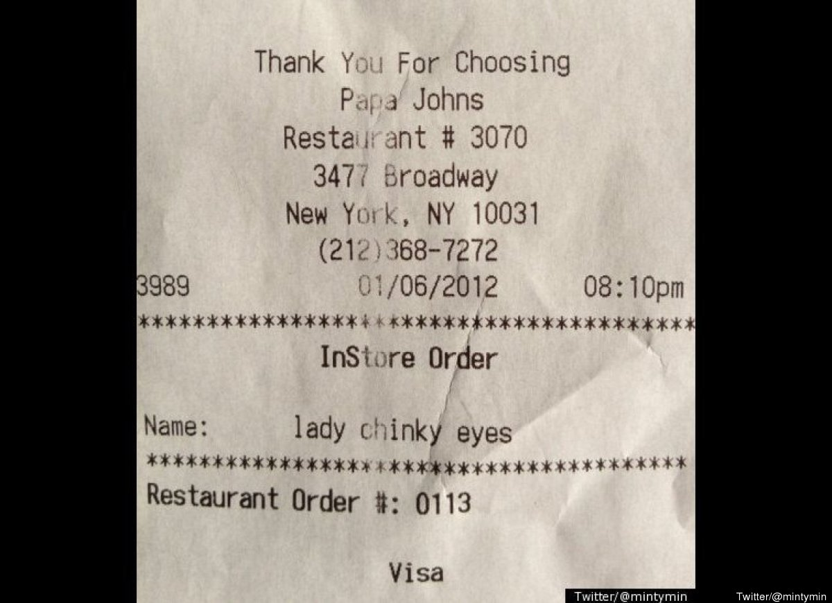 "A Papa John's customer snapped a photo of her receipt, which contained an <a href=""http://www.huffingtonpost.com/2012/01/07/l"