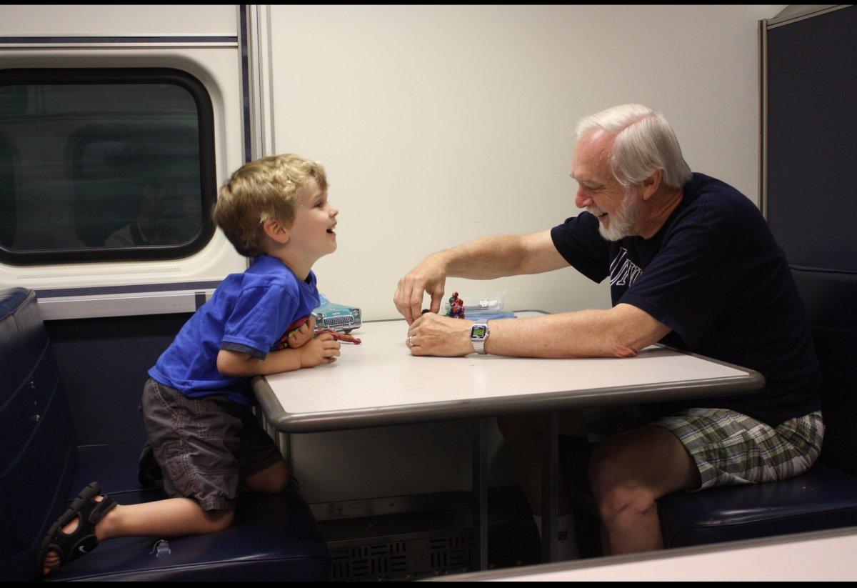 Grandpa and Grandson Playing
