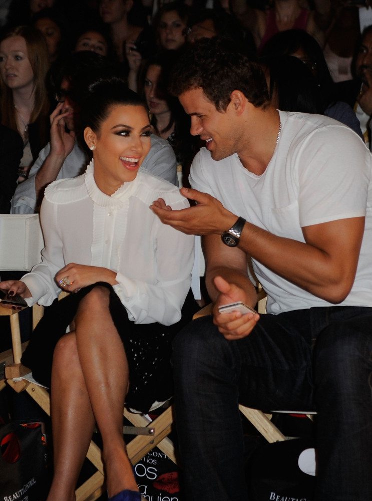 NEW YORK, NY - SEPTEMBER 12: (L-R) Kim Kardashian, and Kris Humphries attend the Abbey Dawn by Avril Lavigne Spring 2012 fash