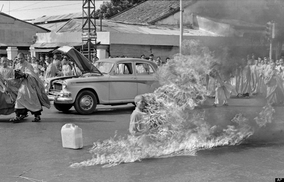 Taken on June 11, 1963 by then AP Saigon correspondent Malcolm Browne, a Buddhist monk, burns himself to death on a Saigon st
