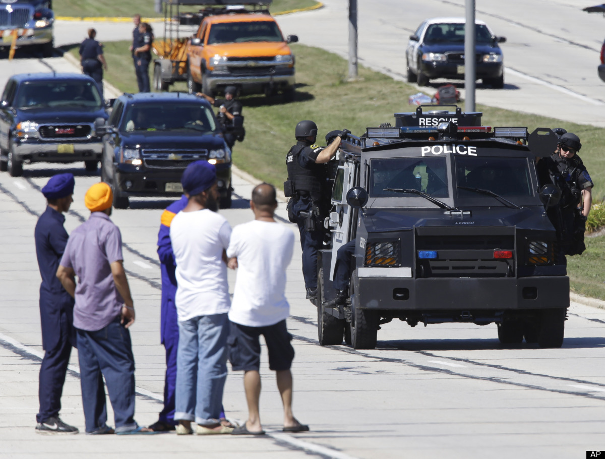 A gunman shoots six people dead during Sunday services at a Sikh temple in Oak Creek, Wisconsin, before he is shot dead by a