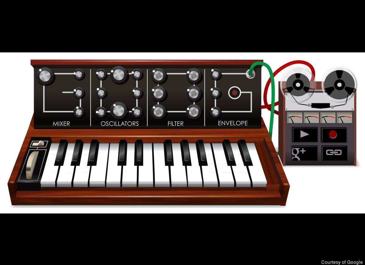 "Favorite Doodle: <a href=""http://www.google.com/doodles/robert-moogs-78th-birthday"" target=""_hplink"">Moog synthesizer</a> (in"