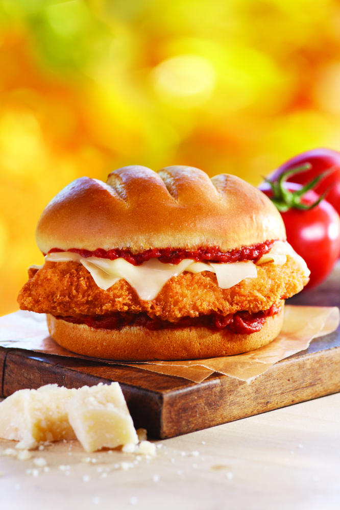 The Chicken Parmesan Sandwich is available crispy or grilled and comes with mozzarella, shaved Parmesan cheese and marinara s