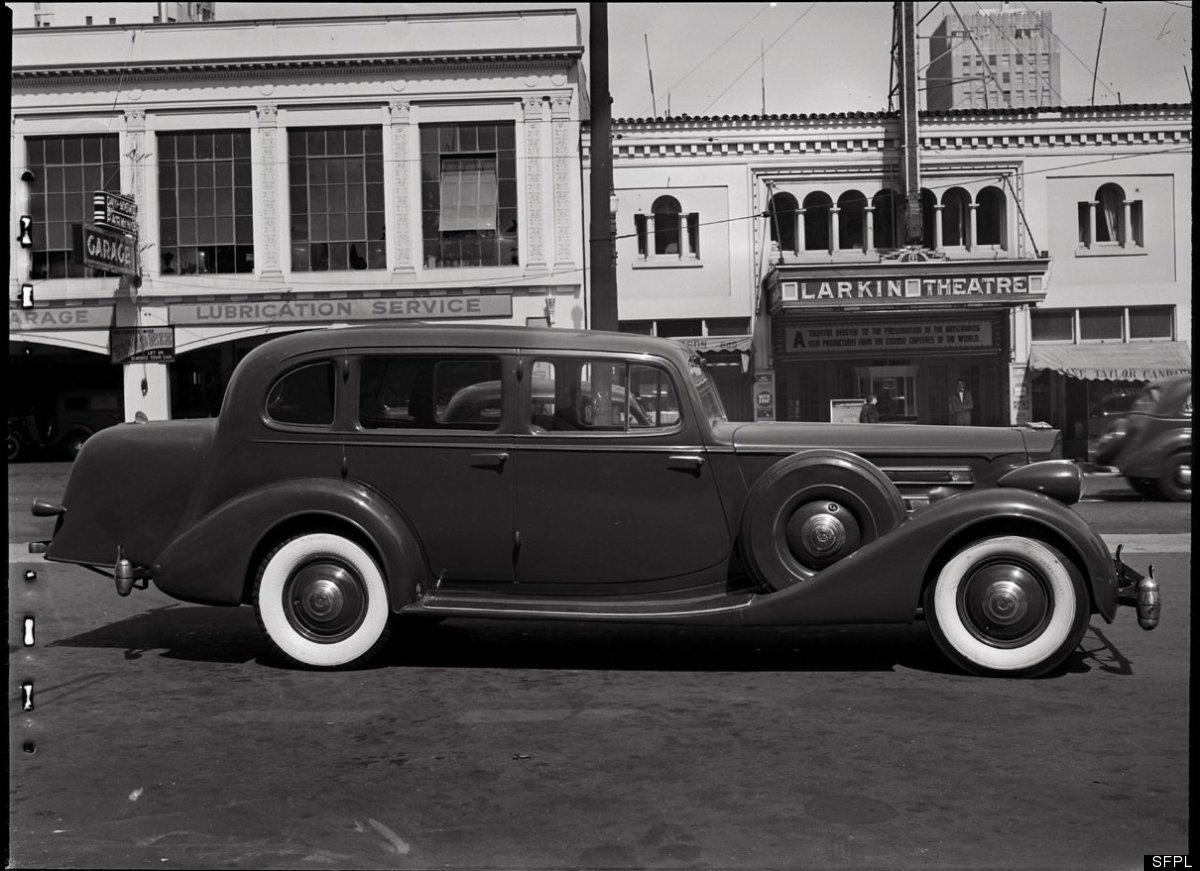 Packard Sedan on Larkin Street in front of Larkin Theatre at 816 Larkin Street. May 4, 1939. Larkin Theatre is now the locati