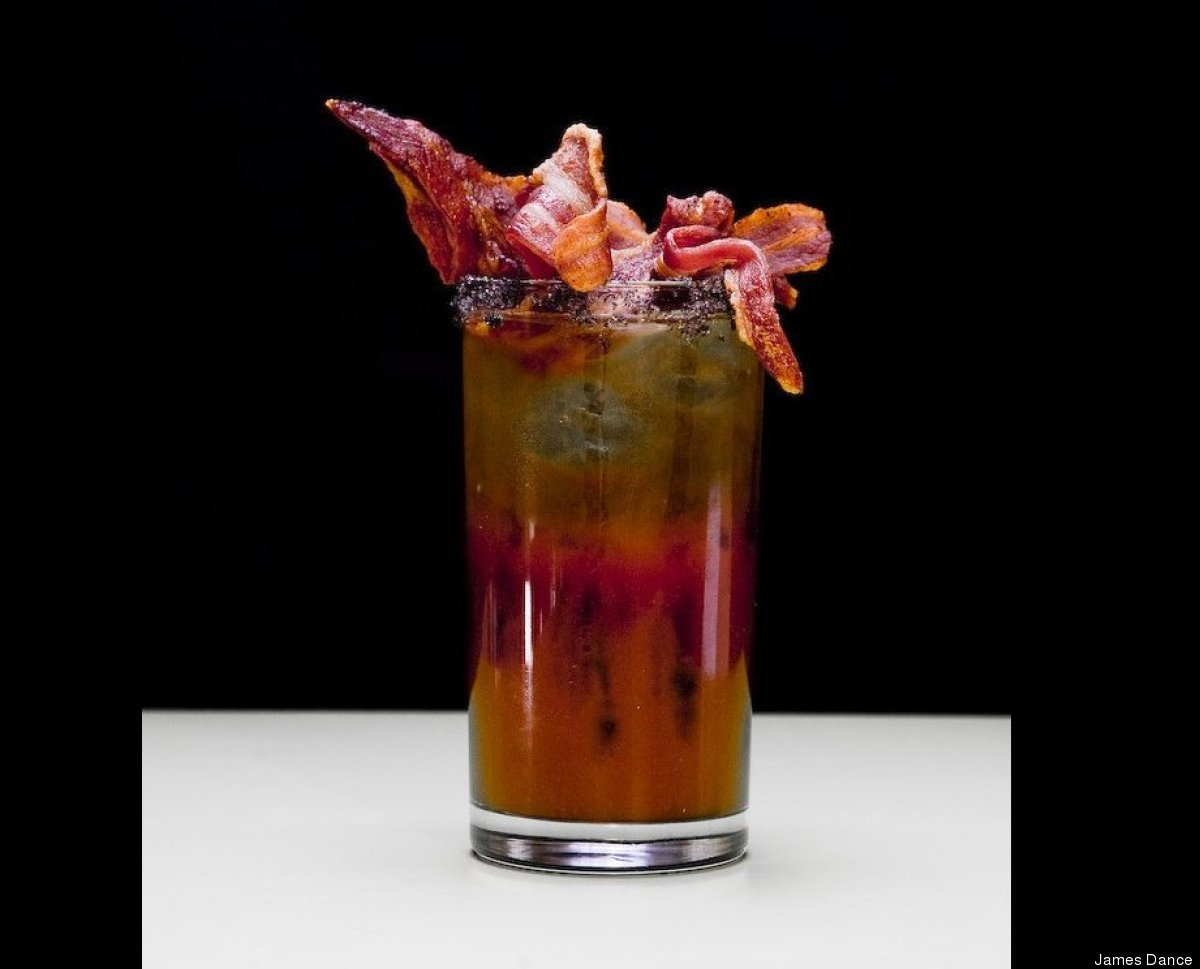 Made with vodka, Jack Daniels and a crispy meat garnish.